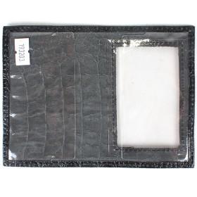 Обложка для пенсионного удостоверения PRT-У-53о (с окошком)  натуральная кожа черный кайман 193203