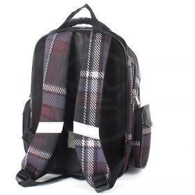 Рюкзак Rise-м-353,  школьный,  эргоном.спинка,  2отд,  2внут+3внеш карм,  коричневый клетка  (щенок)  193660