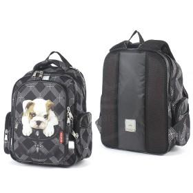 Рюкзак Rise-м-353,  школьный,  эргоном.спинка,  2отд,  2внут+3внеш карм,  черный  (щенок)  193661