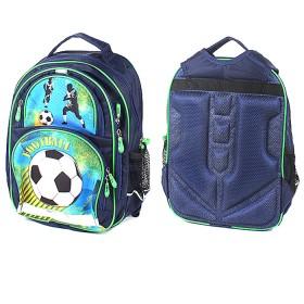 Ранец LRS-384 Пиноккио,  эргоном спинка,  1отд+3внеш карм,  синий,  футбол  194707