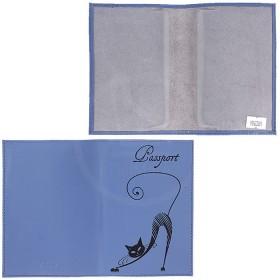 Обложка для паспорта из нат/кожи «Изящная кошка».O.31.SH.васильковый. 95х 135 мм. 196289