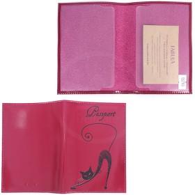 Обложка для паспорта из нат/кожи «Изящная кошка».O.31.SH.сливовый. 95х 135 мм. 196290