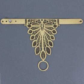 Браслет на руку натуральная кожа 428,  на кнопке,  перфорация,  золотой (03)   197351