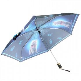 Зонт женский ТриСлона-060d,  R=55см,  суперавт;  6спиц,  3слож,  полиэстер,  Кот-аристократ,  син/черн 197739