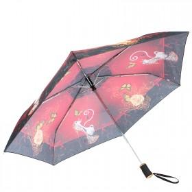 Зонт женский ТриСлона-060d,  R=55см,  суперавт;  6спиц,  3слож,  полиэстер,  Кошка,  красный 197743