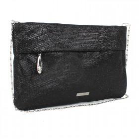 Сумка женская текстиль ADEL-23,  1отд,  ремень-цепочка,  черный блеск 197959