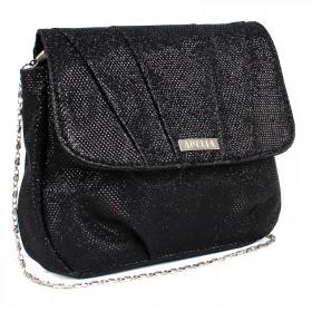 Сумка женская текстиль ADEL-67/2В, 1отд,  ремень-цепочка,  черный блеск SALE 197965