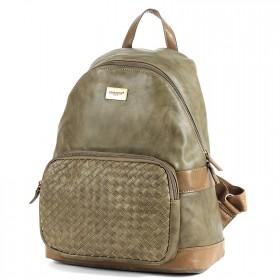 Сумка женская искусственная кожа DJ-5664-3-KHAKI,   (рюкзак),  1отд,  1внут+1внеш карм,  хаки SALE 198281