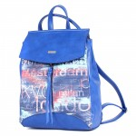 Сумка женская иск/кожа+текстиль ADEL-83/ММ   (рюкзак) ,    1отд+еврокарман,    синий adventure