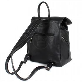 Сумка женская искусственная кожа Дила-008    (рюкзак) ,    1отд,    1внут+3внеш карм,    черный