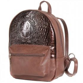 Сумка женская искусственная кожа GR-1493    (рюкзак) ,    1отд,    1внут+1внеш карм,    коньяк+кайман лак