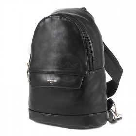 Сумка мужская искусственная кожа DJ-696602-BLACK,       (рюкзак) ,    1отд,    2внут+2внеш карм,    черный SALE