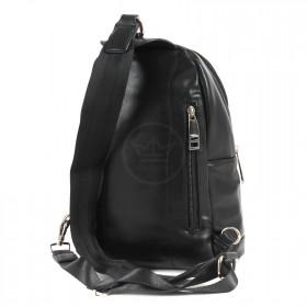Сумка мужская искусственная кожа DJ-696602-BLACK,   (рюкзак),  1отд,  2внут+2внеш карм,  черный SALE 200474
