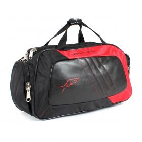 Сумка дорожная SKP-321 жатка+иск/кожа,  1отд,  2внеш карм,  плечевой ремень,  черный/красный 200833