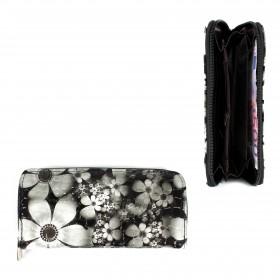 Кошелек женский искусственная кожа 7811,    на 1 молнию,    6отд,    8карм,      (цветы) ,    черный