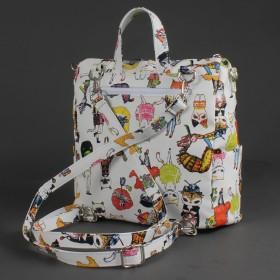 Сумка женская искусственная кожа ADEL-88/ММ   (рюкзак) ,    1отд+еврокарман,    белый кошки