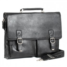 Портфель искусственная кожа Cantlor-358-03,  4отд,  3внеш+6внут карм,  плечевой ремень,  черный 201261