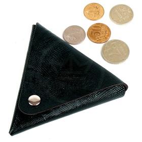 Футляр для монет Premier-F-63 натуральная кожа черный сафьян матовый   (589)