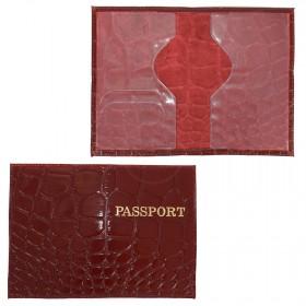 Обложка для паспорта н/к,  крок крупн;  бордо; тисн-PASSPORT 202025