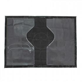 Обложка для паспорта н/к,  крок крупн;  черный; тисн-PASSPORT 202026