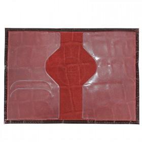 Обложка для паспорта н/к,  крок крупн;  тем.бордо; тисн-PASSPORT 202027