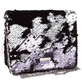 Сумка женская иск/кожа+текстиль ADEL-66,  2отд,  ремень-цепочка,  черный glamor 202430