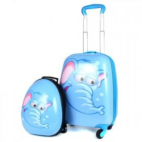 "Комплект 2в 1    (чемодан 45*20*30;    рюкзак 32*11*26) ,    пластик,    ""  Слон"" ,    голубой"