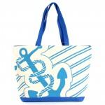 Сумка пляжная текстиль 1505    (якорь) ,    1отдел,    белый/голубой