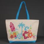 Сумка пляжная текстиль 1505    (цветы) ,    1отдел,    белый/голубой