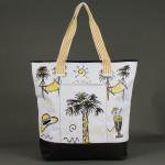 Сумка пляжная текстиль 1606    (пальма) ,    1отдел,    1карм,    черный