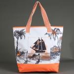 Сумка пляжная текстиль 1606    (яхта) ,    1отдел,    1карм,    оранжевый