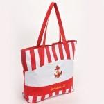 Сумка пляжная текстиль 1312   (полоска/якорь) ,    1 отдел,    красный+бел