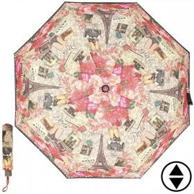 Зонт женский RST-3556,  R=56см,  суперавт;  8спиц-сталь+fiber,  3слож,  полиэстер,  (Марки+розы)  бежевый 202613