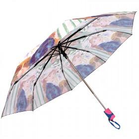 Зонт женский RST-3630,    R=56см,    суперавт;    8спиц-сталь+fiber,    3слож,    полиэстер,       (Девушка)    бежевый