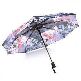 Зонт женский 3568,    R=56см,    полуавт;    8спиц-сталь+fiber,    3слож,    полиэстер,      (стрекозы)    черный