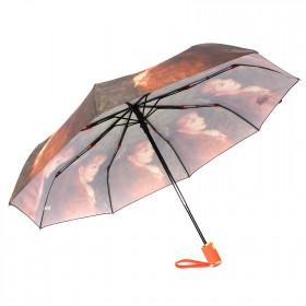 Зонт женский 3742,    R=56см,    суперавт;    8спиц-сталь+fiber,    3слож,    полиэстер,      (Девушка)    зеленый