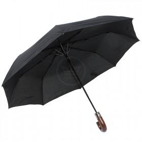 Зонт муж TR-3959,  R=56,  полуавт;  8спиц-сталь+fiber;  3слож;  полиэстер,  черный 202651