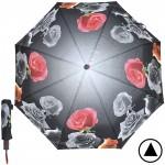 Зонт женский TR-1703,    R=56см,    полуавт;    8спиц-сталь+fiber;    3слож;    полиэстер,      (Розы)    серый
