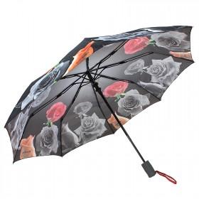 Зонт женский TR-1703,  R=56см,  полуавт;  8спиц-сталь+fiber;  3слож;  полиэстер,  (Розы)  серый 202667
