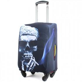 "Чехол для чемодана 28-L""     (28""  -113л) ,    полиэстер 100%,       (Череп)    серый"