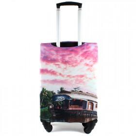 """Чехол для чемодана 24-M""""     (24""""  -70л) ,    полиэстер 100%,       (Кафе на воде)    розовый"""