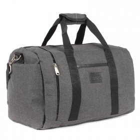 Сумка AMeN-Джил дорож  (текстиль),  б/подклада,  жесткое дно,  1отд,  1внут+3внеш карм,  плечевой ремень,  серый/черный 203351