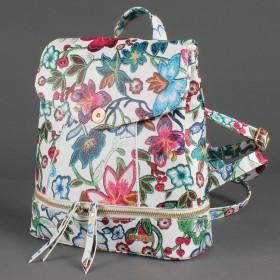 Сумка женская искусственная кожа ADEL-90/ЗФ/ММ   (рюкзак) ,    1отд,    плечевой ремень,    белый цветы