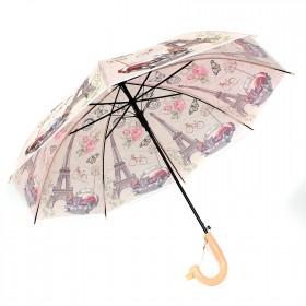 Зонт детский RST-040,    R=48см,    полуавт;    8спиц-сталь;    трость;    полиэтилен,    бежевый