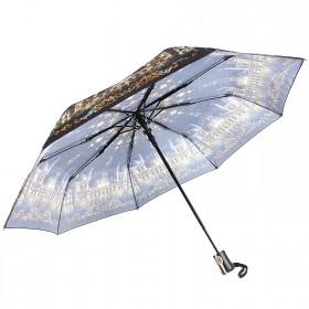 Зонт женский ТриСлона-881,  R=55см,  полуавт;  8спиц,  3слож,  полиэстер,  сер/желт,  Собор 203593