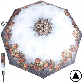 Зонт женский ТриСлона-881,  R=55см,  полуавт;  8спиц,  3слож,  полиэстер,  серый,  цветы 203597