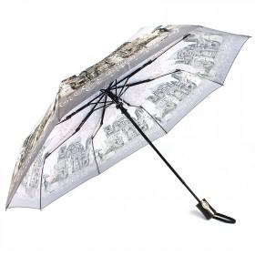 Зонт женский ТриСлона-881,  R=55см,  полуавт;  8спиц,  3слож,  полиэстер,  сер/беж,  Собор 203598