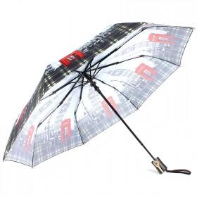 Зонт женский ТриСлона-881,  R=55см,  полуавт;  8спиц,  3слож,  полиэстер,  серый,  Лондон 203599