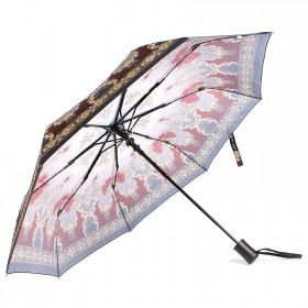 Зонт женский ТриСлона-881,  R=55см,  полуавт;  8спиц,  3слож,  полиэстер,  бордо/серый,  узор 203601