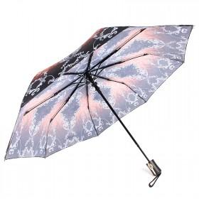Зонт женский ТриСлона-881,  R=55см,  полуавт;  8спиц,  3слож,  полиэстер,  коричн/серый,  узор 203603